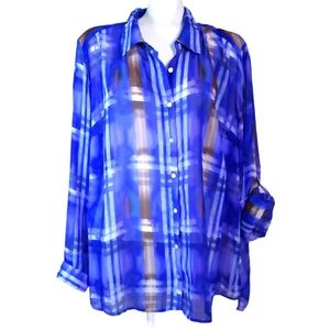 Dex | semi sheer purple plaid hi lo button up top